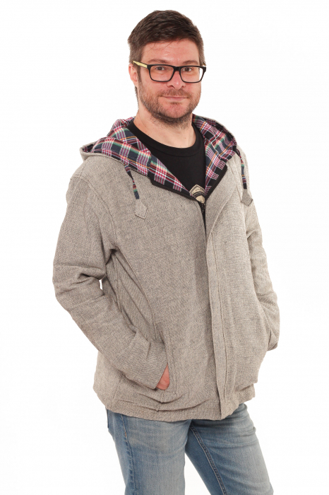 Jacheta barbateasca din bumbac - Gri simpla 0