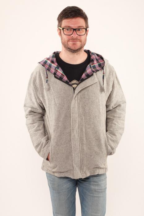 Jacheta barbateasca din bumbac - Gri simpla 1