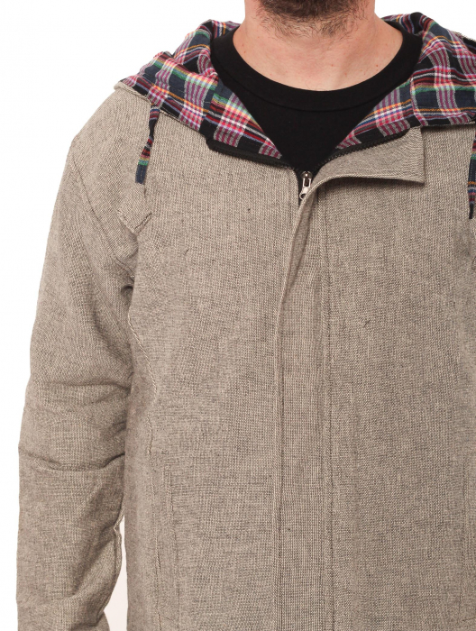 Jacheta barbateasca din bumbac - Gri simpla 3