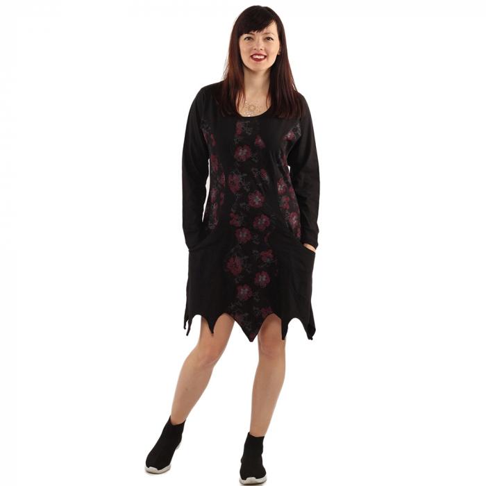Rochie in colturi cu maneca lunga - BLACK 0
