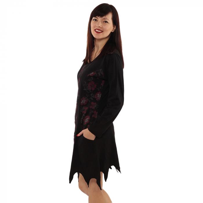Rochie in colturi cu maneca lunga - BLACK 4