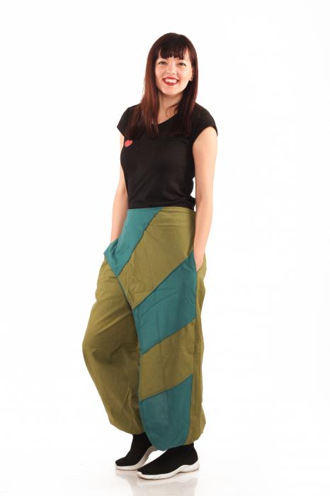 Pantalon salvar tip fusta - Verde 1