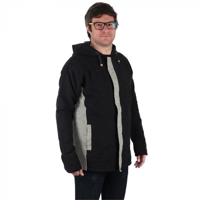 Jacheta barbateasca din bumbac - Negru Gri 1