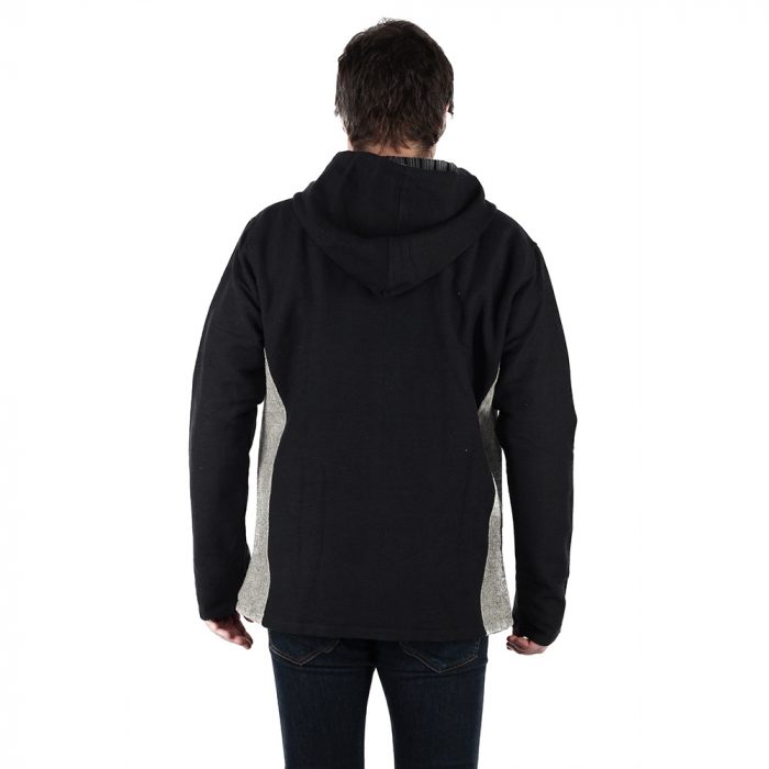 Jacheta barbateasca din bumbac - Negru Gri 2