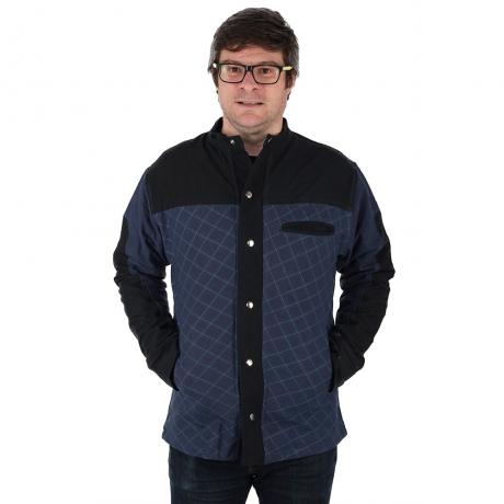 Jacheta barbateasca din bumbac, albastru - Geometric 0