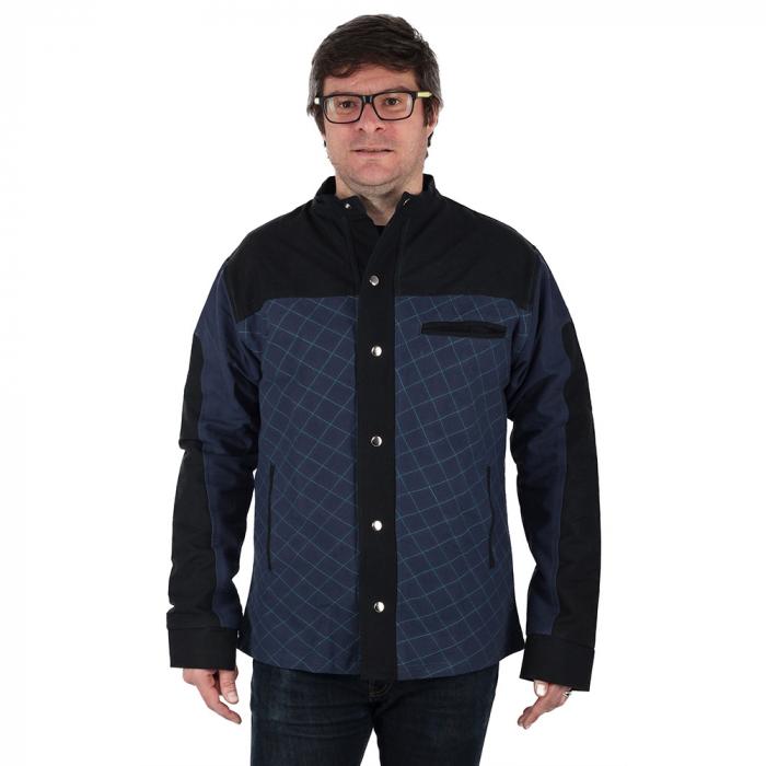Jacheta barbateasca din bumbac, albastru - Geometric 1