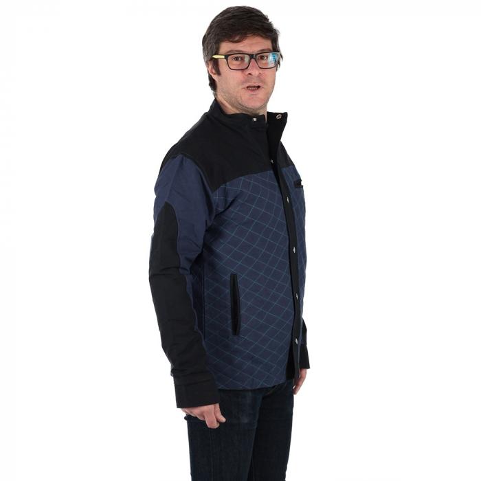 Jacheta barbateasca din bumbac, albastru - Geometric 2