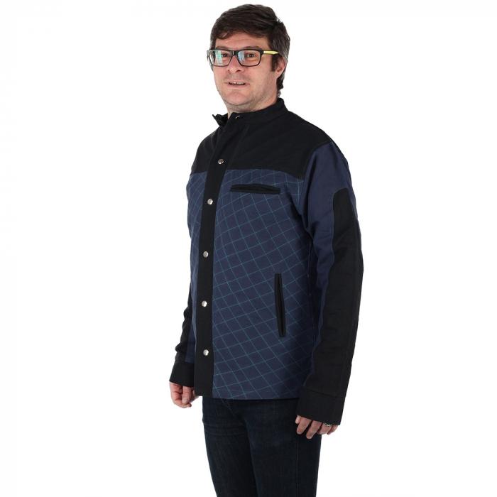 Jacheta barbateasca din bumbac, albastru - Geometric 3