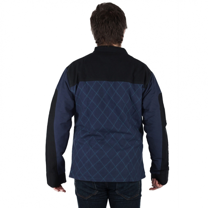 Jacheta barbateasca din bumbac, albastru - Geometric 4