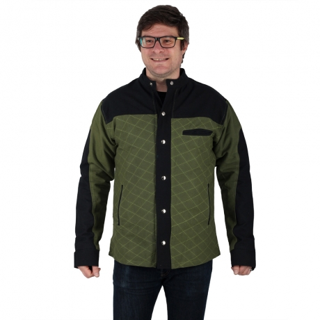 Jacheta barbateasca din bumbac, verde - Geometric 0