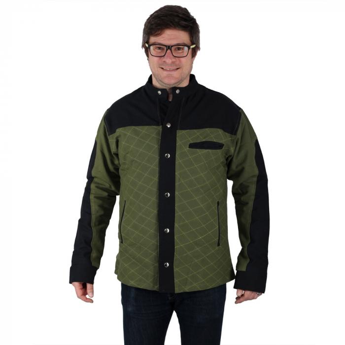 Jacheta barbateasca din bumbac, verde - Geometric 1