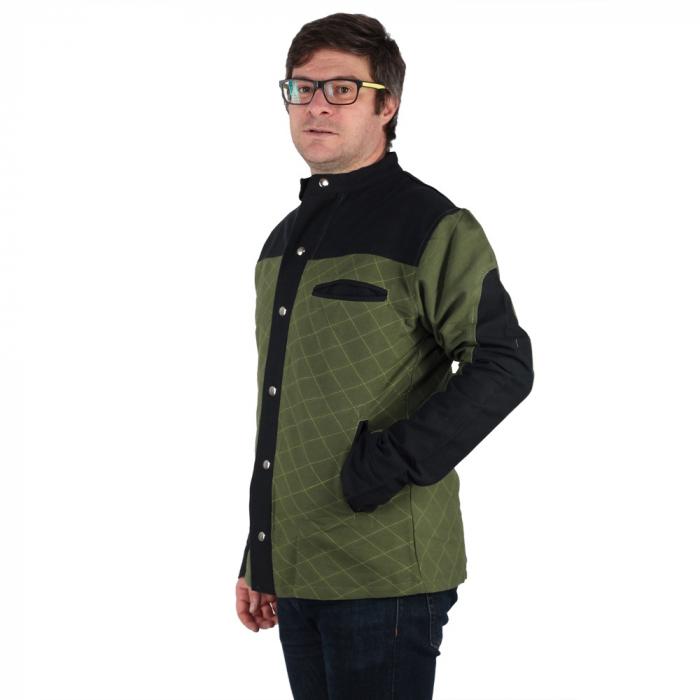 Jacheta barbateasca din bumbac, verde - Geometric 2