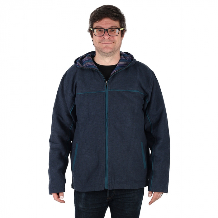 Jacheta barbateasca din bumbac - Bleumarin 0