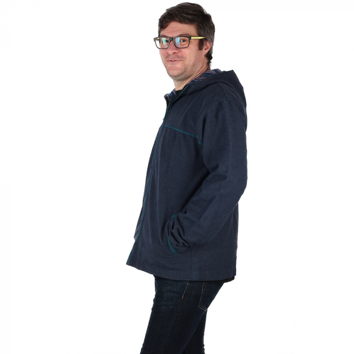 Jacheta barbateasca din bumbac - Bleumarin 3