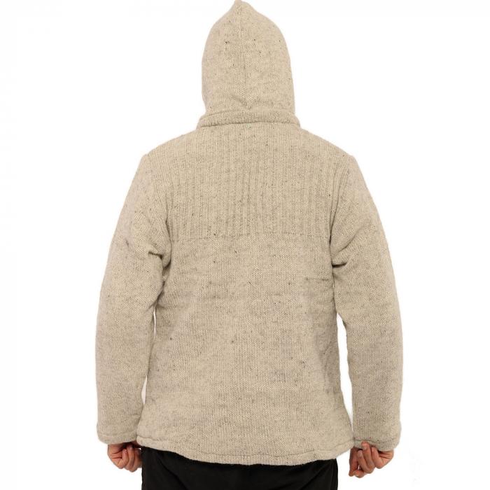 Jacheta din lana cu buzunare - ALB 1