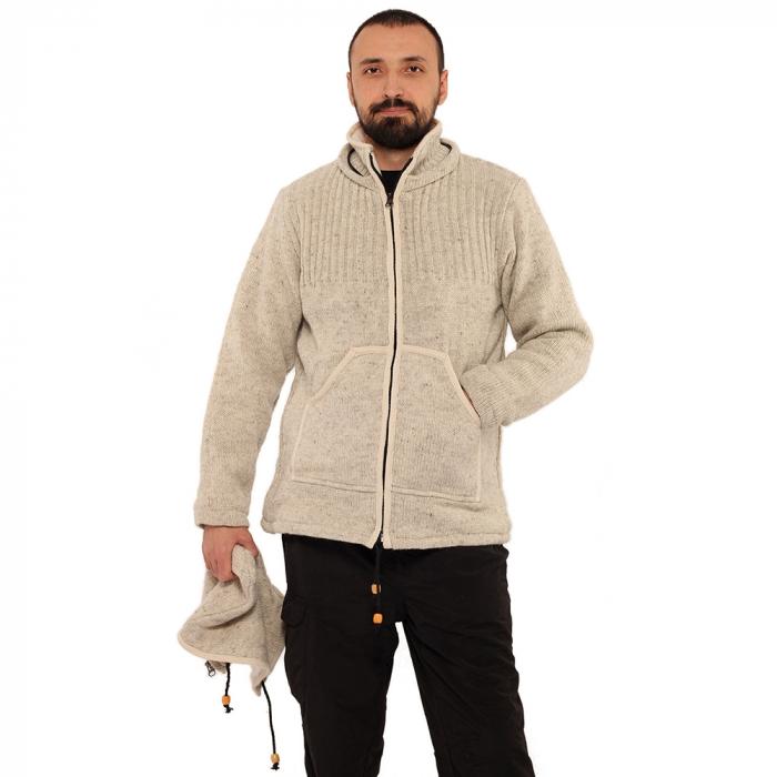 Jacheta din lana cu buzunare - ALB 0