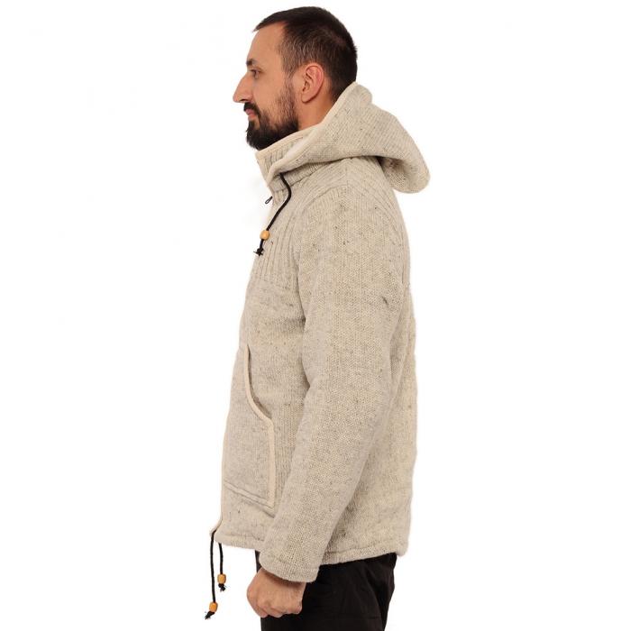 Jacheta din lana cu buzunare - ALB 2