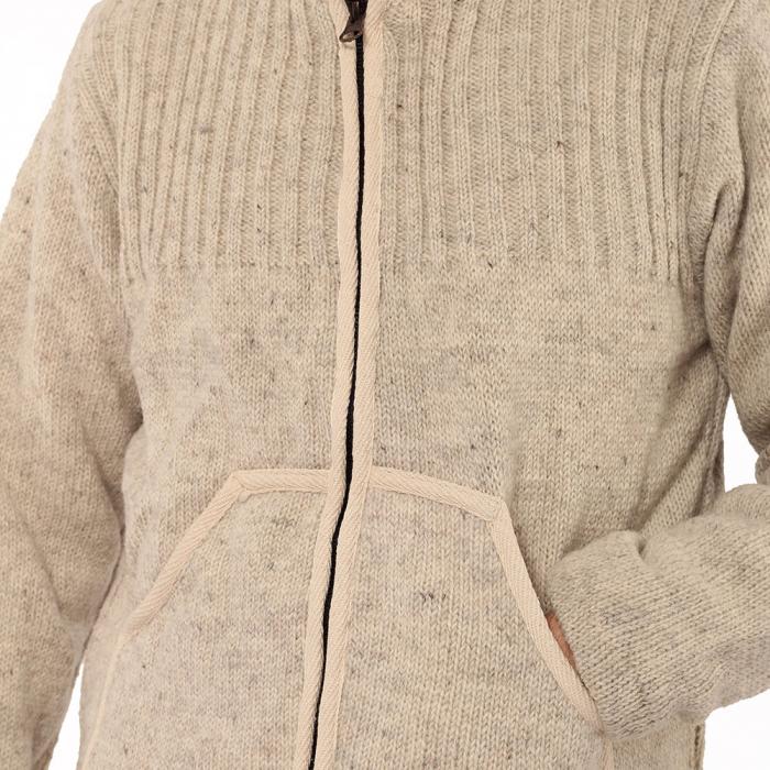 Jacheta din lana cu buzunare - ALB 3