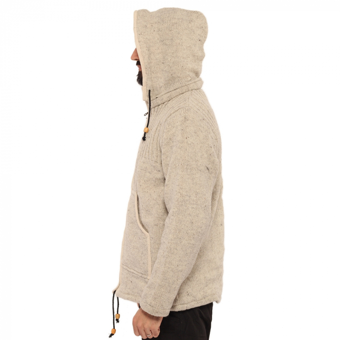 Jacheta din lana cu buzunare - ALB 4