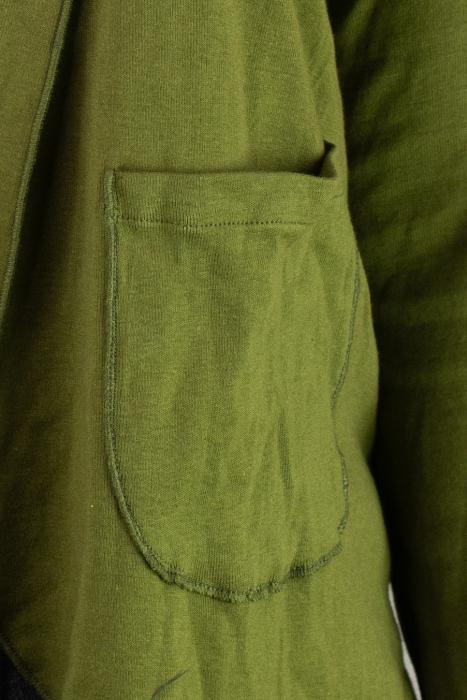 Bluza din bumbac cu maneca lunga, verde cu buzunare 1