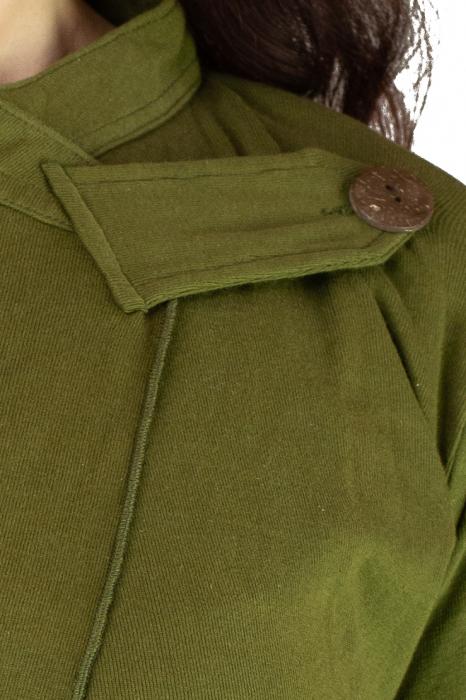 Bluza din bumbac cu maneca lunga, verde cu buzunare 2