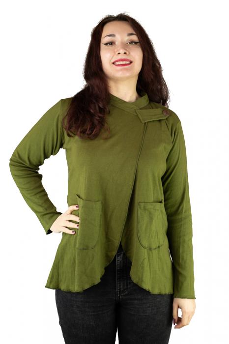 Bluza din bumbac cu maneca lunga, verde cu buzunare 0