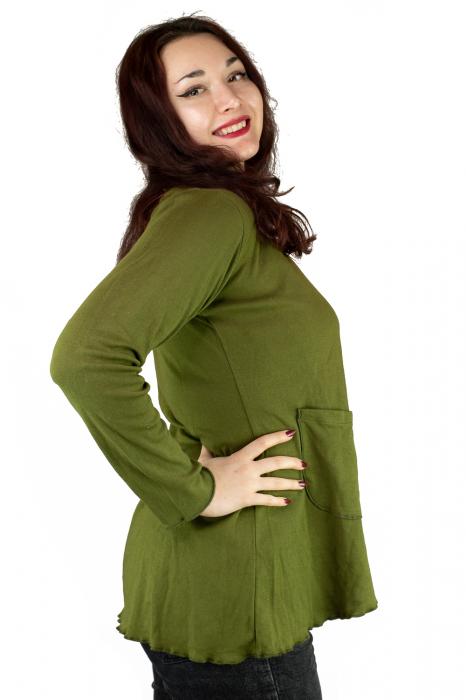 Bluza din bumbac cu maneca lunga, verde cu buzunare 3