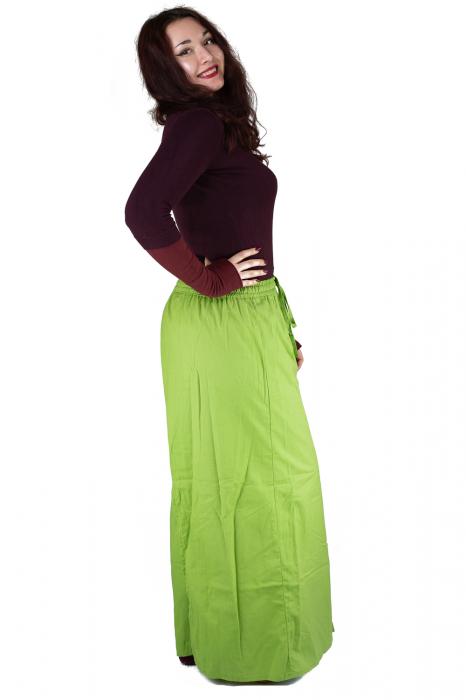 Pantaloni tip fusta din bumbac - Verde 4