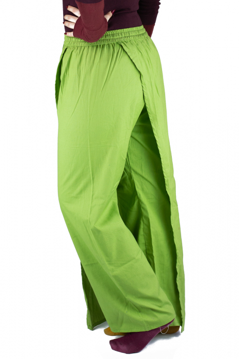 Pantaloni tip fusta din bumbac - Verde 1