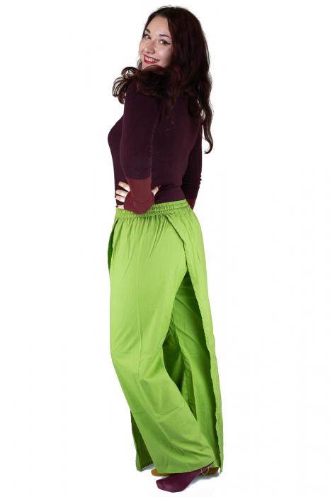 Pantaloni tip fusta din bumbac - Verde 8