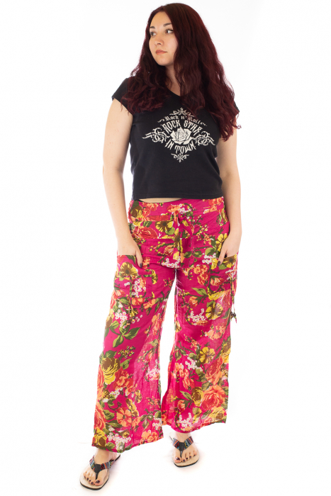 Pantaloni din bumbac subtire - Flower Frenzy - Roz [0]