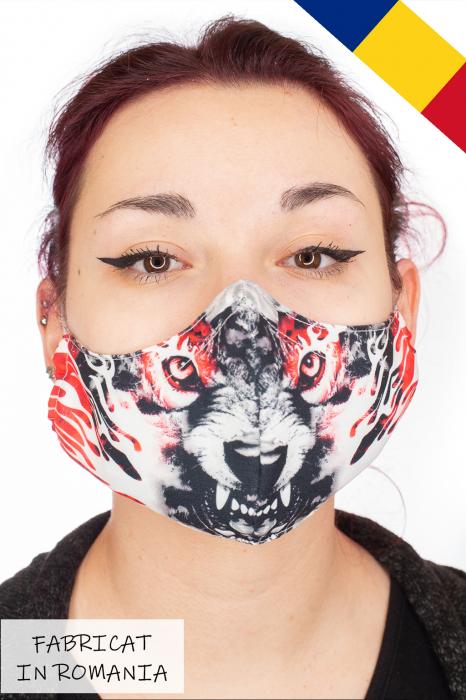 Masca bumbac cu filtru pentru adulti - Red Wolf 0