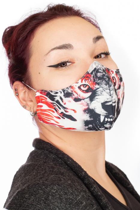Masca bumbac cu filtru pentru adulti - Red Wolf 1