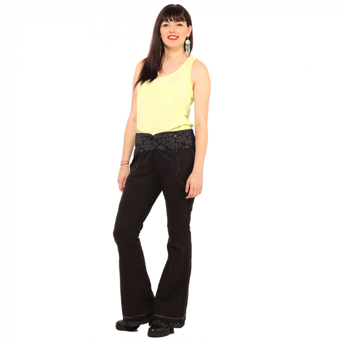 Pantaloni negri - Flower Pattern 0