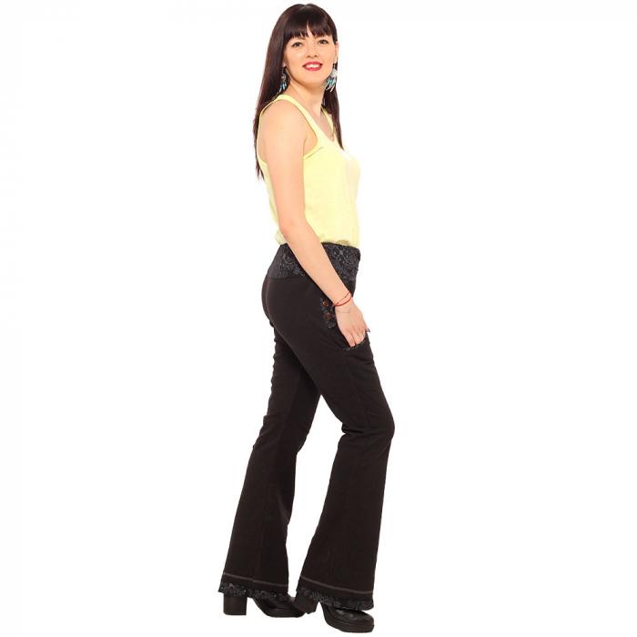 Pantaloni negri - Flower Pattern 2
