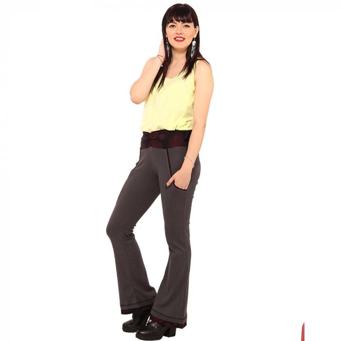 Pantaloni gri negru - Mandala rosie 1