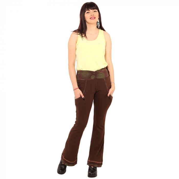 Pantaloni maro - Mandala verde 0