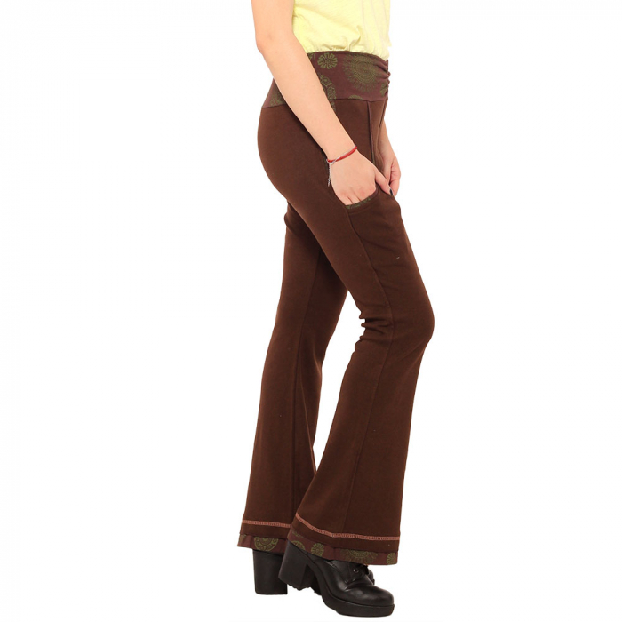 Pantaloni maro - Mandala verde 2