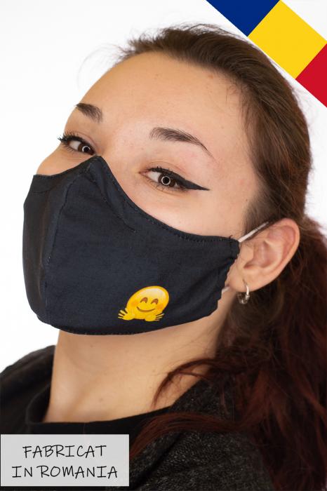 Masca bumbac cu filtru pentru adulti - Smiley Negru 0