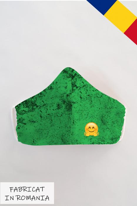 Masca bumbac cu filtru pentru copii - Smiley Verde 0