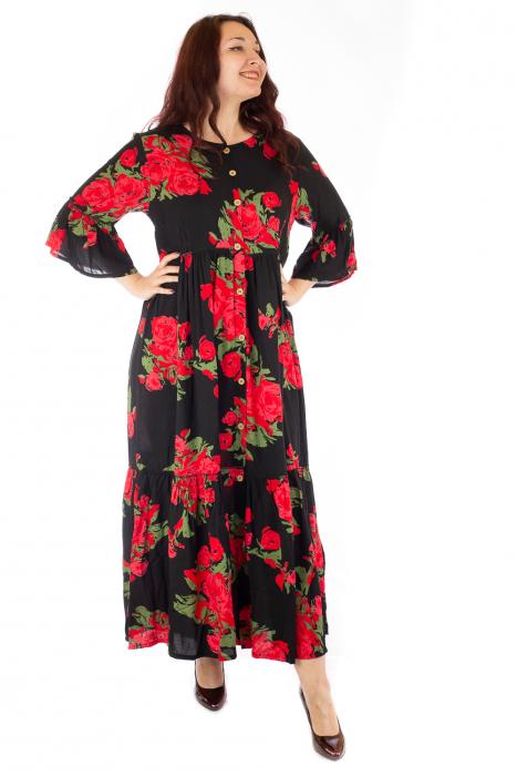 Rochie lunga cu print floral si nasturi 2