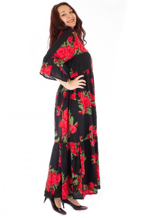 Rochie lunga cu print floral si nasturi 3