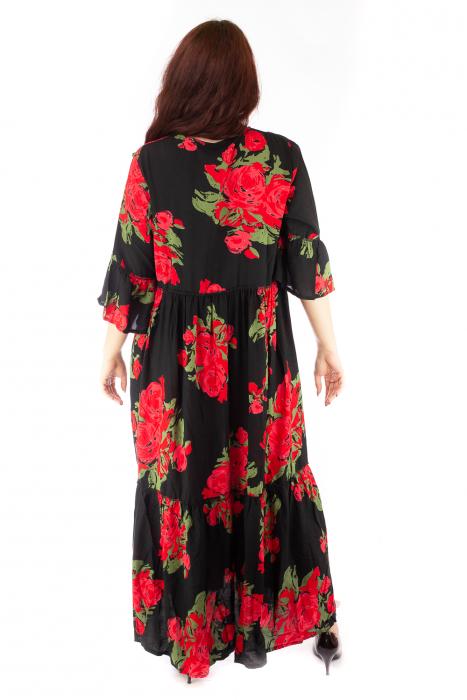 Rochie lunga cu print floral si nasturi 4