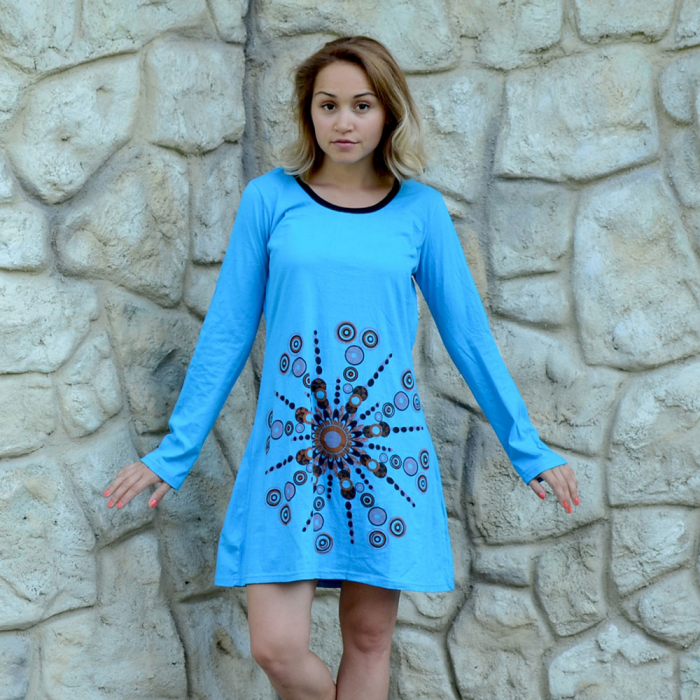Rochie albastra din bumbac - MANDALA 0