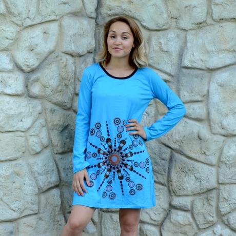 Rochie albastra din bumbac - MANDALA 1