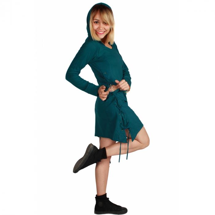 Rochie din bumbac cu gluga in stil corset 1
