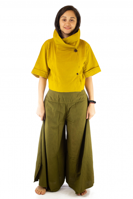 Pantaloni tip salvar din bumbac - Verde evazat 1