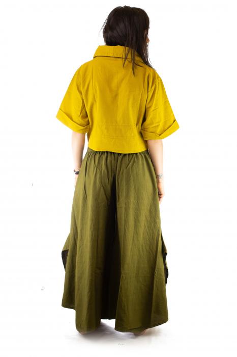 Pantaloni tip salvar din bumbac - Verde evazat 4