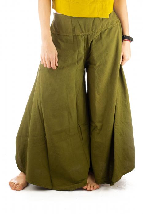 Pantaloni tip salvar din bumbac - Verde evazat 0