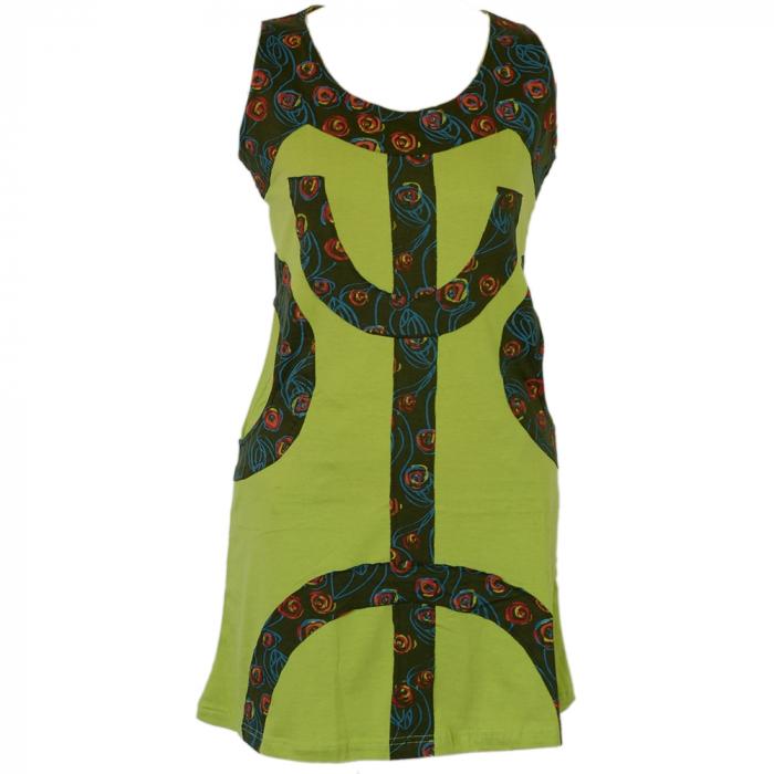 Rochie verde din bumbac natural cu buzunare - SEMICERC 0